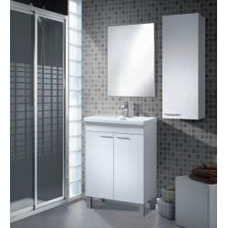 Conjunto con lavabo, espejo y mueble auxiliar Nogal Blanco