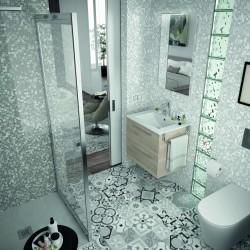 Mueble de baño color Natural y lavabo Chrome de 70 cm