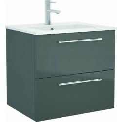 Mueble de baño color Gris Brillo y lavabo Chrome de 70 cm