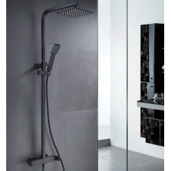 Conjunto de ducha cuadrado negro mate serie Fiyi