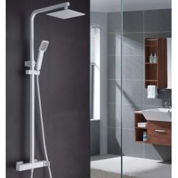 Conjunto de ducha cuadrado blanco mate serie Fiyi