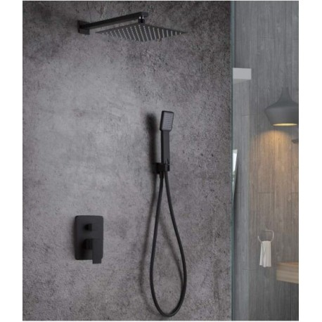 Kit ducha empotrada negro mate serie Dublin