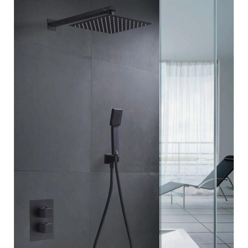 Conjunto de ducha empotrada termostatica negro mate serie for Conjunto ducha termostatica
