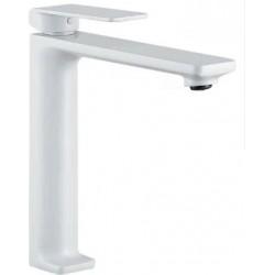 Grifo de lavabo pica monomando blanco mate serie fiyi