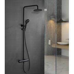 Conjunto de ducha negra mate termostática TURN CLEAN SYSTEM Serie Kent