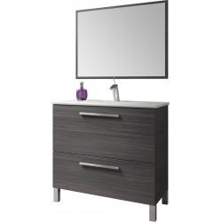 Mueble Lavabo 1 puerta abatible y 1 cajón, Lavabo y Espejo color gris ceniza