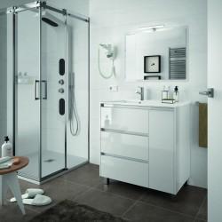 Armário branco com três gavetas e uma porta
