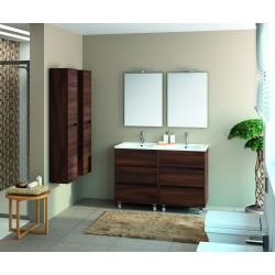 Mueble Acacia Marrón con Seis Cajones y Dos Senos