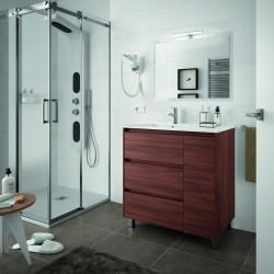 Móveis Acácia marrom com três gavetas e uma porta