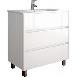 Armário branco com três gavetas