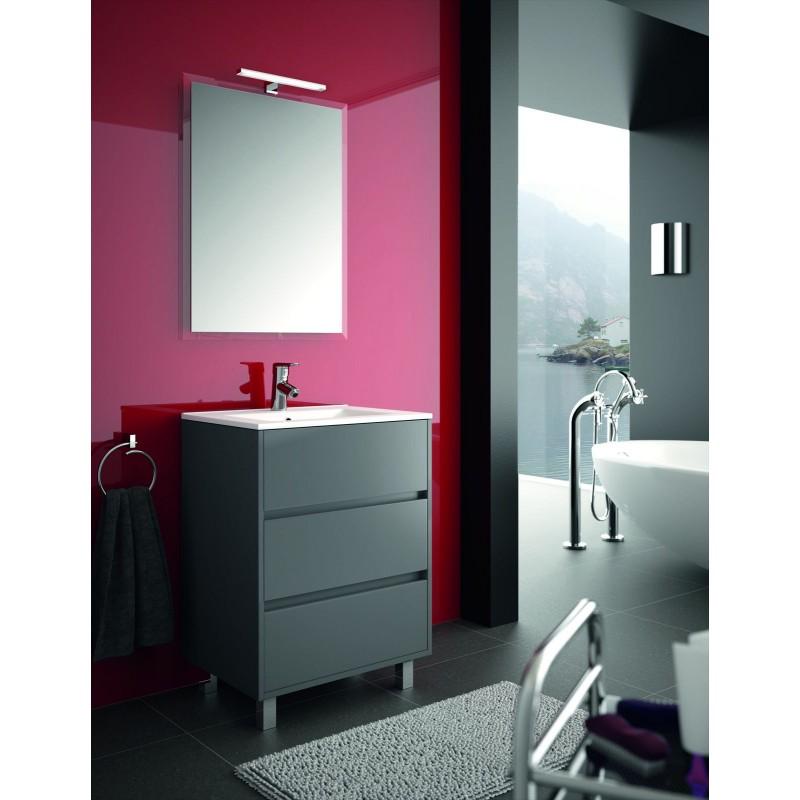 Mueble de ba o gris mate con 3 cajones y lavabo - Muebles de bano gris ...