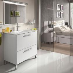 Mueble Lavabo 1 puerta abatible y 1 cajón, Lavabo y Espejo color Blanco